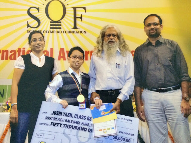Science Olympiad Foundation felicitates Class 3 student of VIBGYOR High with Cash prize of Rs. 50,000 and Gold medal, in New Delhi