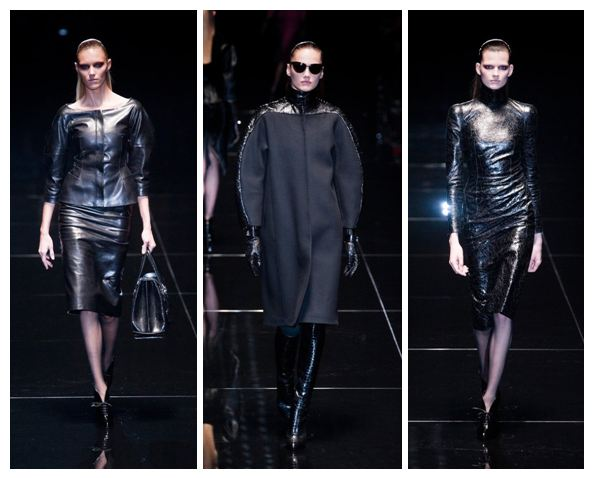 Leather dresses and boots at Gucci A/W 2013 in Milan