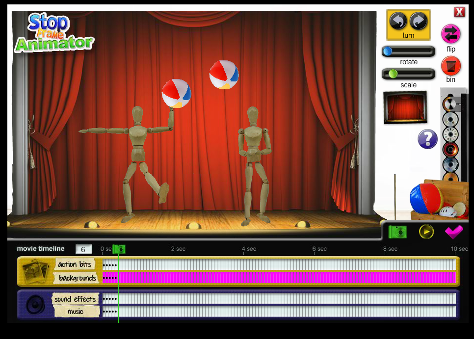 and if you want you can add sound effects and music to your video by selecting them from the stop frame animator gallery
