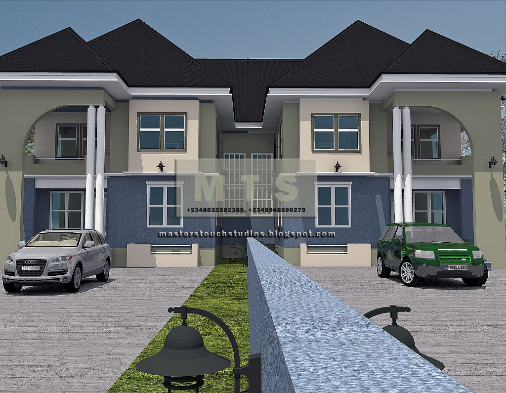 4 bedroom twin duplex modern and contemporary nigerian for Four bedroom design