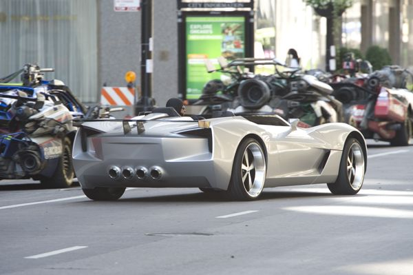 Silver sports car in transformers 3