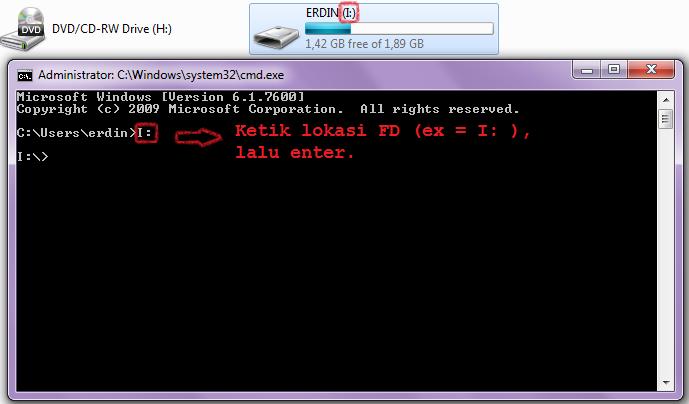 mengembalikan data flashdisk yang hilang oleh virus, lokasi fd pada cmd