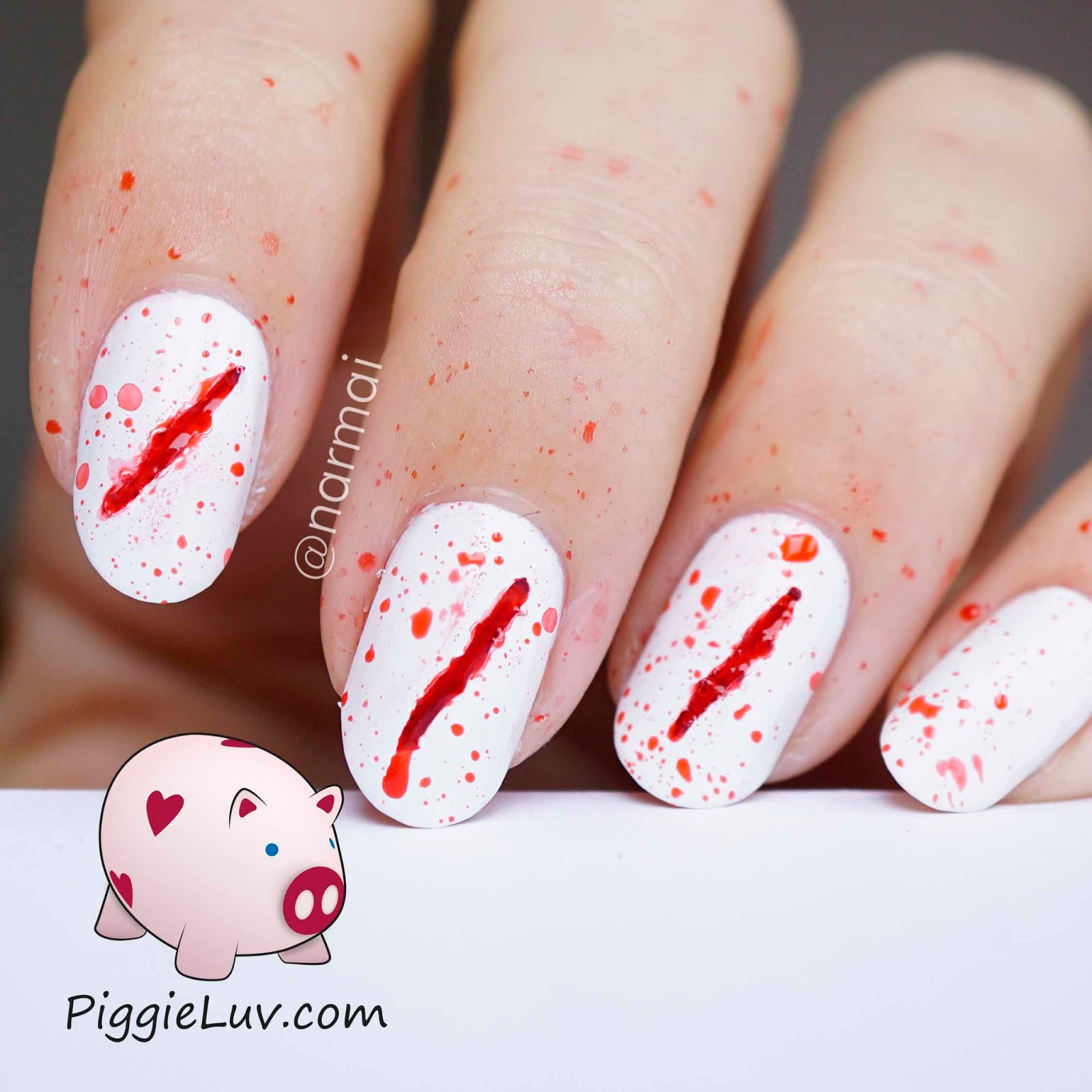 PiggieLuv: Bloody scratches nail art for Halloween