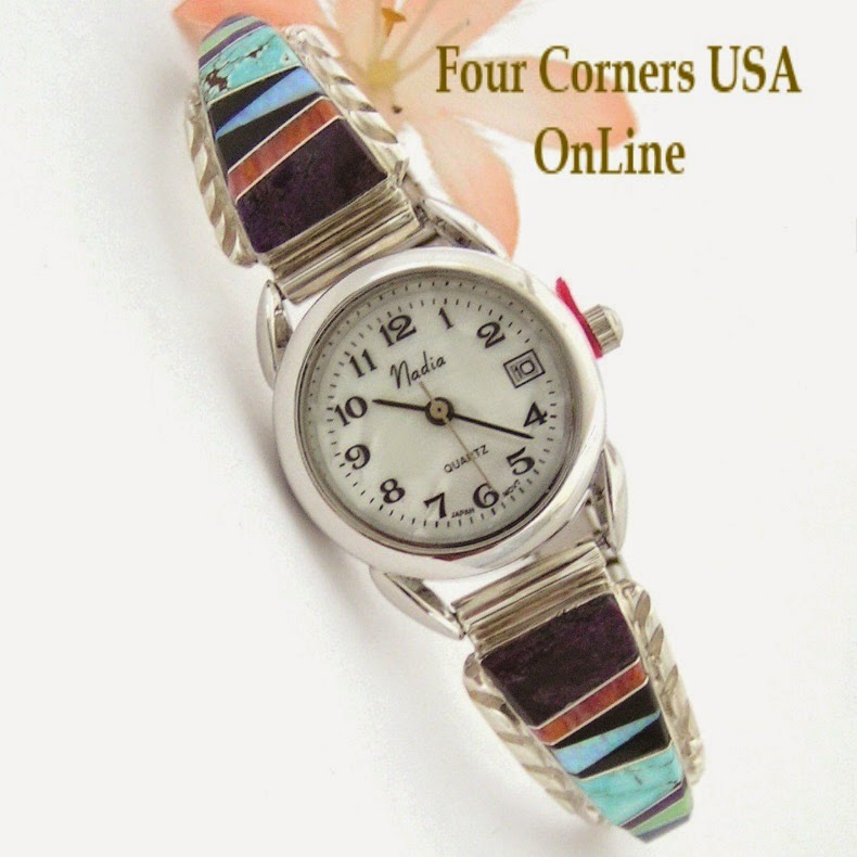 http://stores.fourcornersusaonline.com/womens-multi-color-inlay-sterling-watch-shown-with-mop-calendar-face-navajo-arnold-yazzie-native-american-jewelry-naw-1429/