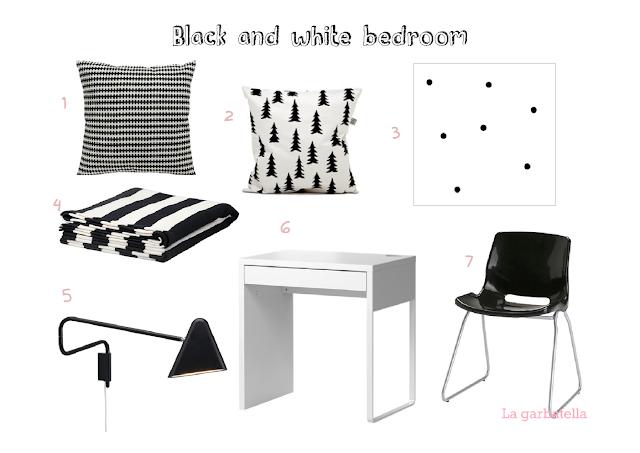 imagen habitación estilo nórdico decoración black and white