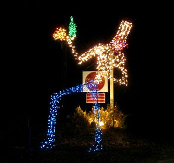 Lighted giant sculptre of a Chef