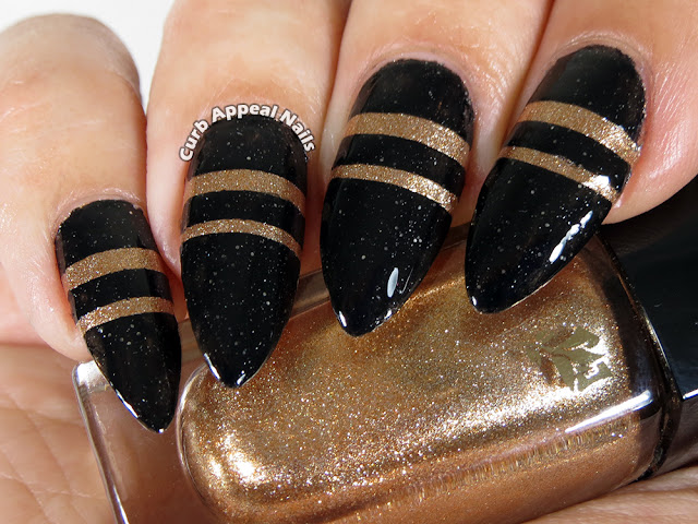 Black + Gold Nails with Lancome Vernis in Love Bubbly Gold 522 and Orly Goth