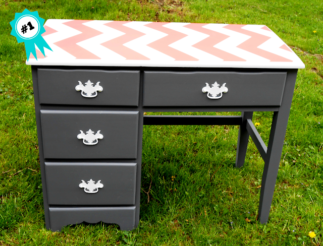 gray, chevron, coral, stencil, desk, back to school, update