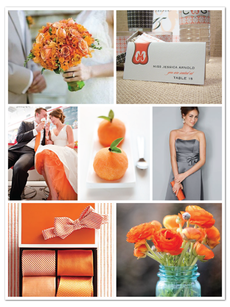 beachy orange gray sea horse wedding inspiration