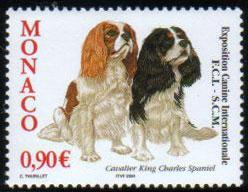 2004年モナコ公国 キャバリア・キング・チャールズ・スパニエルの切手