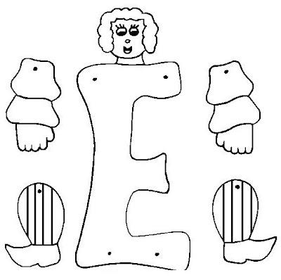 Marioneta letra E para armar, pintar y colorear ~ 4 Dibujo