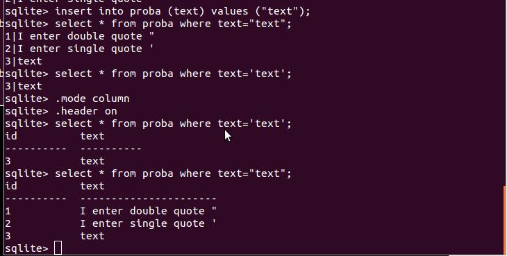 sqlite - double vs single quote