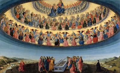 Assunção aos Céus: os Apóstolos contemplam o túmulo vazio.  São Tomé chega tarde. (Francesco Botticini)