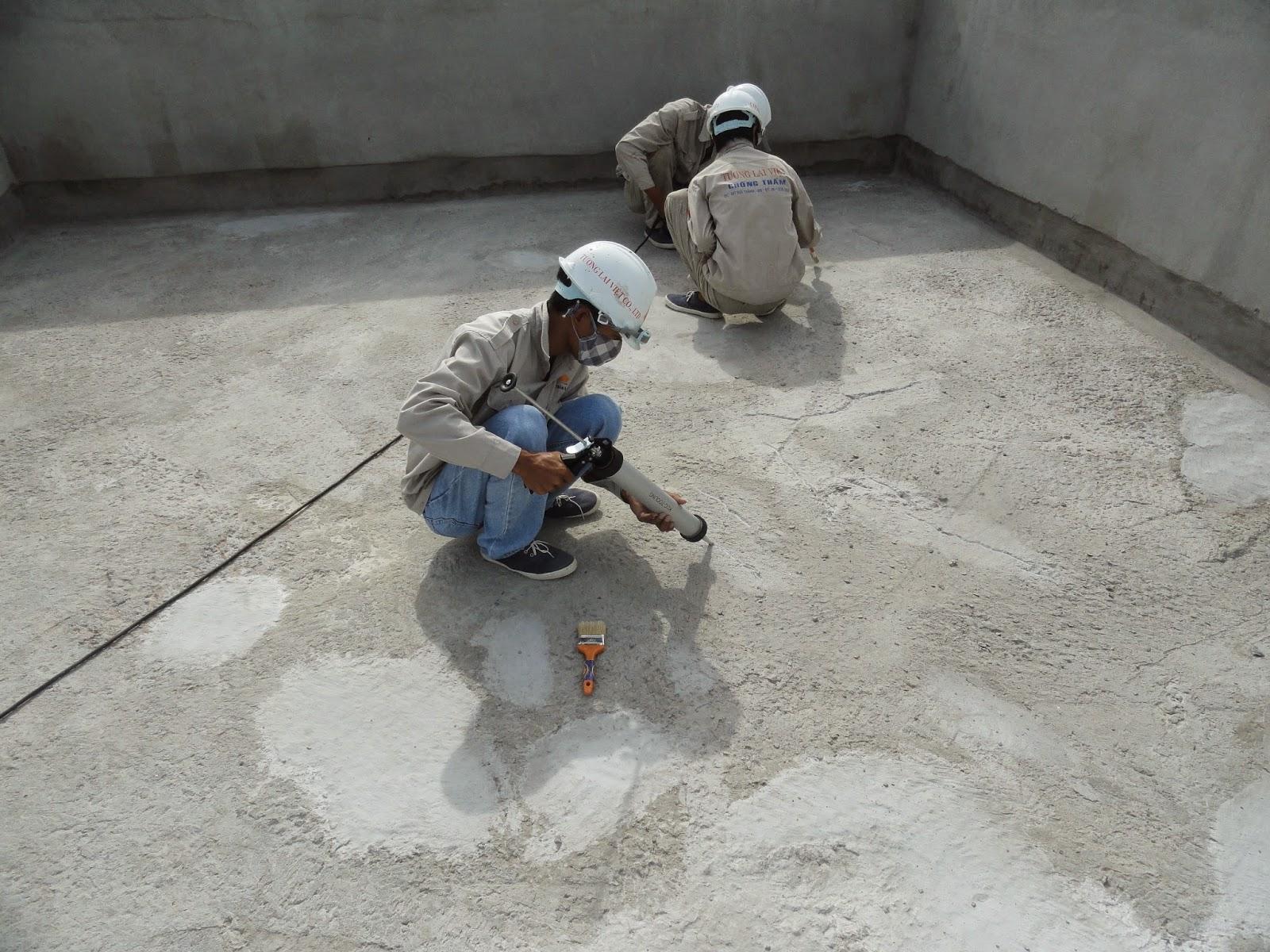 Xử lý các vết nứt chống rò rỉ nước.