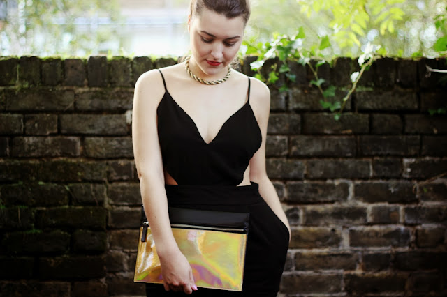 holographic clutch asos blogger
