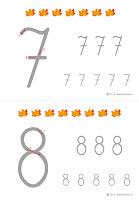 kaligrafia cyfr do wydrukowania dla dzieci-liście