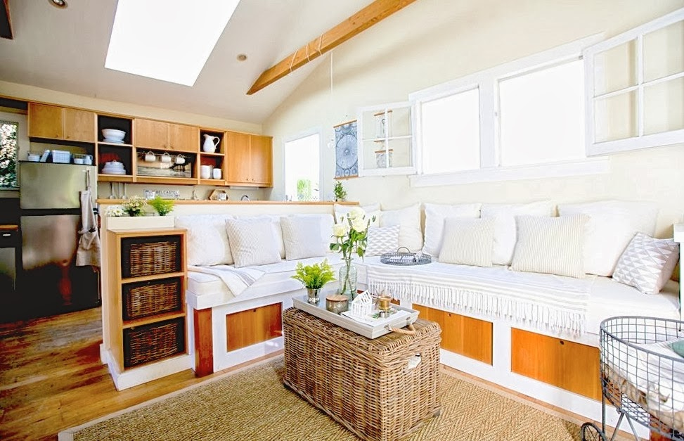 COCOCOZY: SUPER SMALL LIVING - A GENIUS 350 SQUARE FOOT BEACH COTTAGE - Open Kitchen Divider Living Area