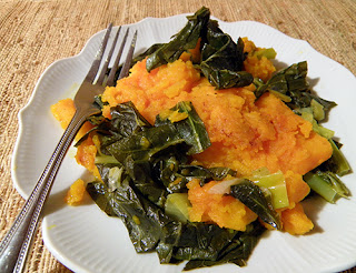 Individual plate of Baked Kabocha Squash with Greens