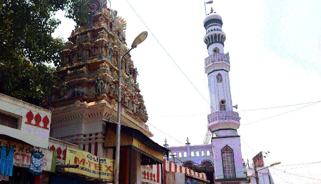 Bangalore temple next to mosque