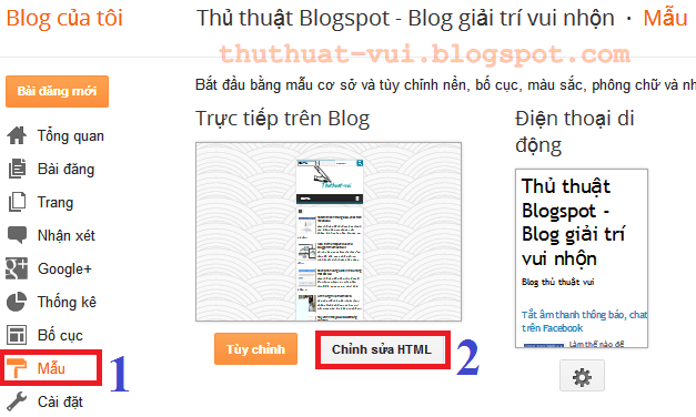 Cài đặt thay đổi giao diện mẫu mới cho blogspot