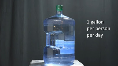"A water cooler jug with the caption ""one gallon per person per day"""