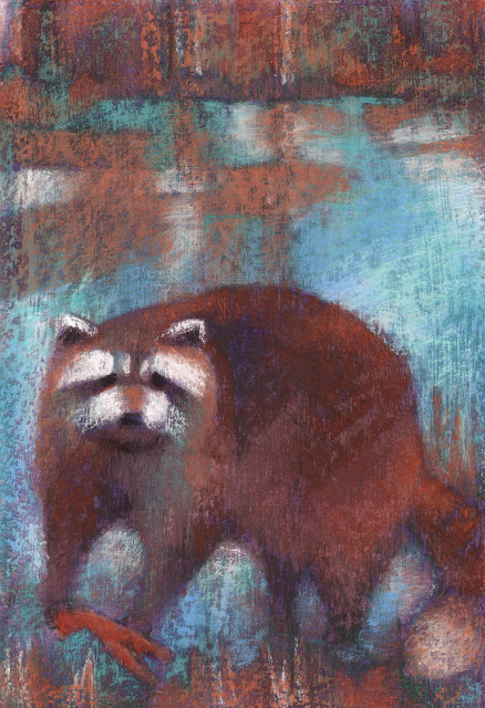 pastel artwork raccoon crayfish artist janine aykens
