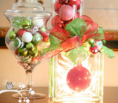 here is one of the tables in my dining room i decided to place the glass block in here with some apothecary jars filled with ornaments - Christmas Glass Blocks