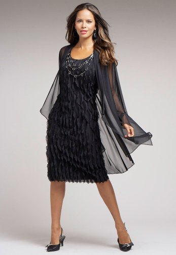 Roamans Plus Size Ruffle Front Black Shift Dress Sheer Jacket Set