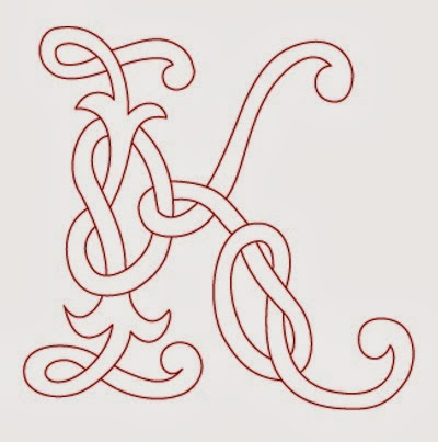 K Celtic calligraphy monogram tattoo stencil