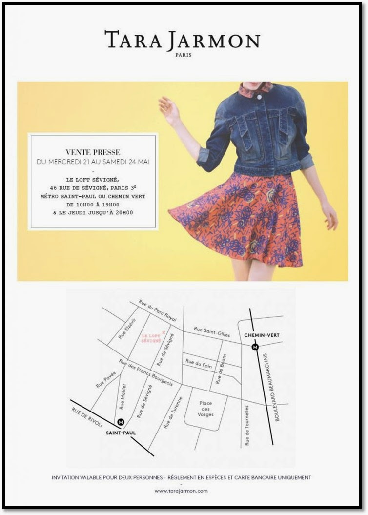ventes presse privée Tara Jarmon Paris mai 2014 soldes