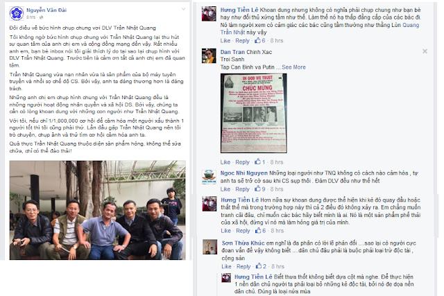 Hình ảnh Nguyễn Văn Đài và đồng bọn  thân thiện với ông Trần Nhật Quang gây bão trong phong trào zận chủ