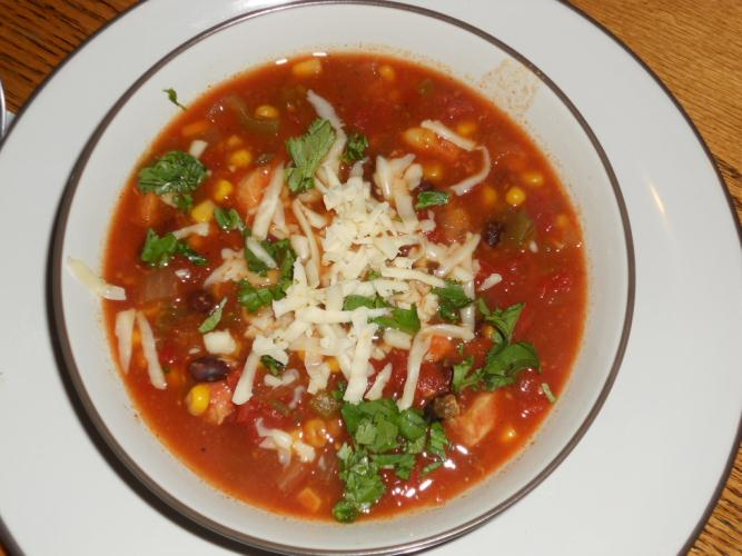 Crock-Pot Chicken Enchilada Soup (adapted from Homemade By Holman )