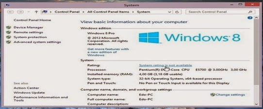 Cara Update Atau Refresh Score Windows Experience Index Di Windows 8 yang Cukup Simple
