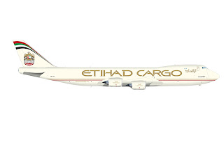 A technical drawing of the Etihad Cargo 747-8 Freighter