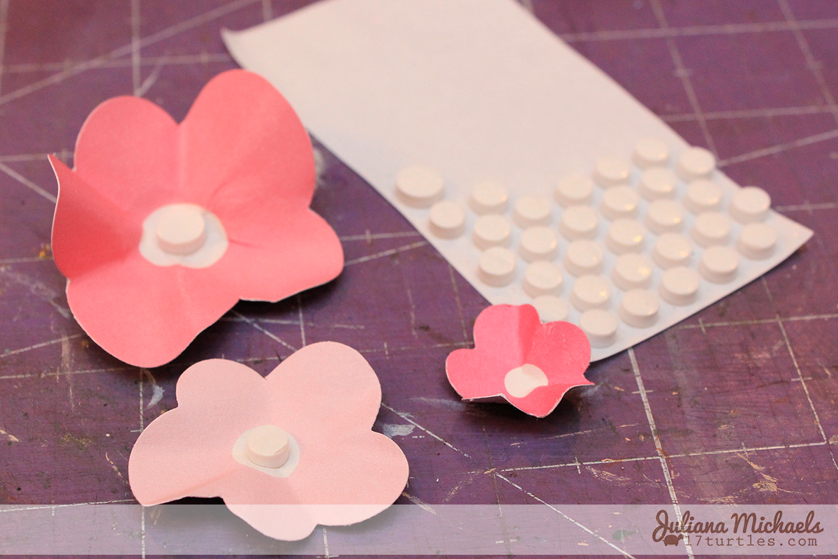 Step 5 - 3 Dimensional Die Cut Cardstock Flowers Tutorial by Juliana Michaels www.17turtles.com