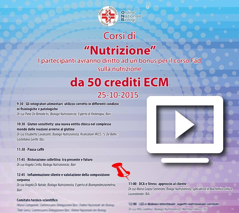 """25 10 2015 Taranto: """"Disturbi del Comportamento Alimentare e stress: approccio al cliente"""""""