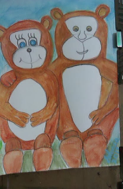 Orange-bear-couple-cartoon-by-Gloria Poole; watercolors; 2013