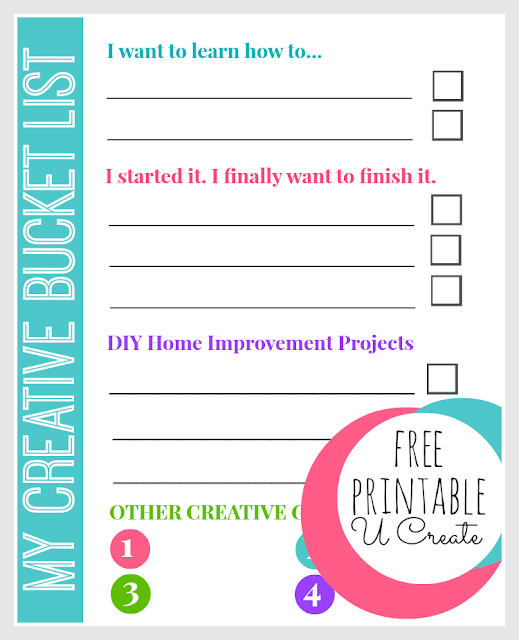 My Creative Bucket List - Free Printable by U Create