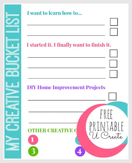 My Creative Bucket List - Free Printable by U Create