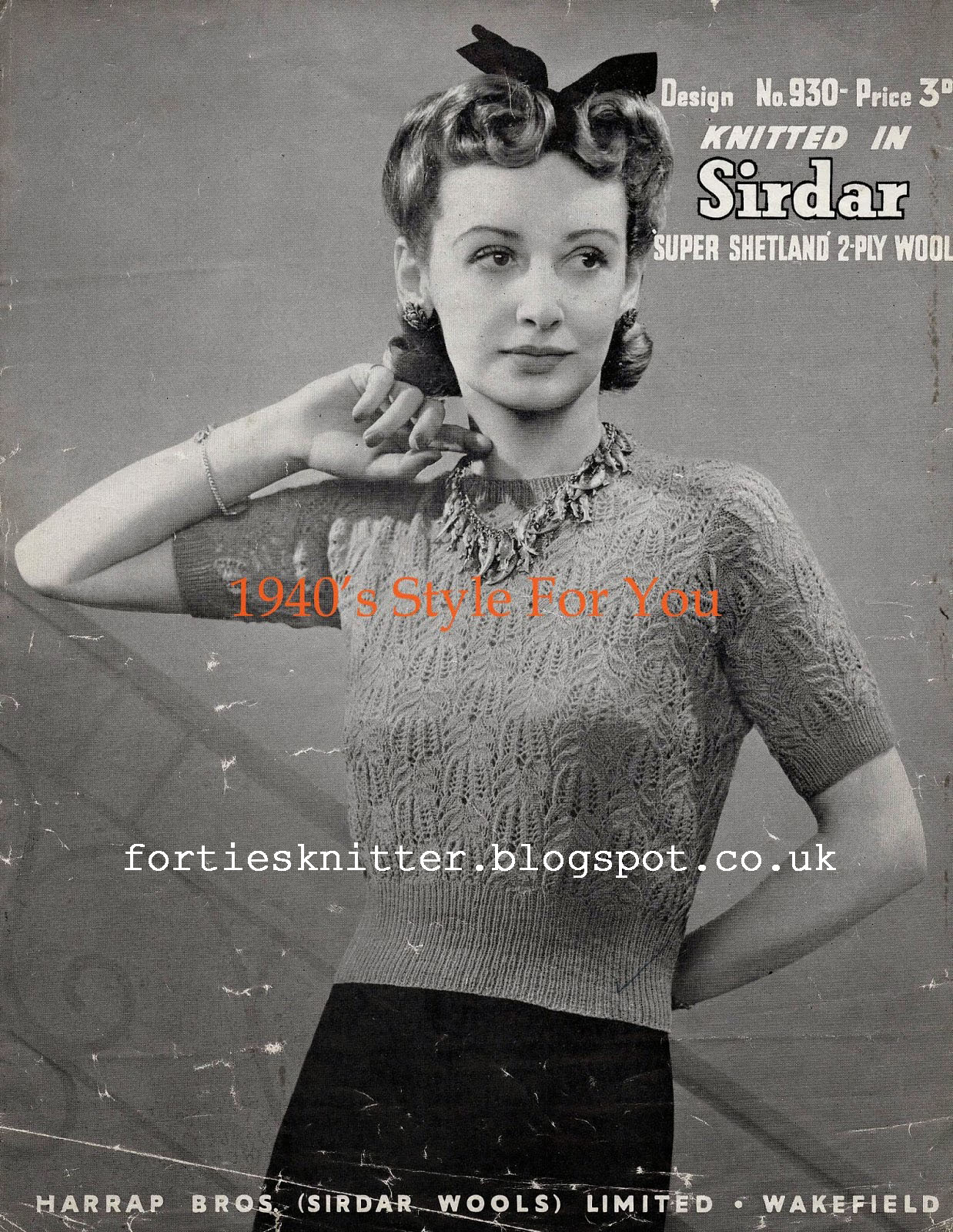 1940's Knitting - Sirdar Lacy Women's Jumper free pattern