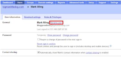 Google Apps Domain Registration - Google Apps Control Panel: Rename User