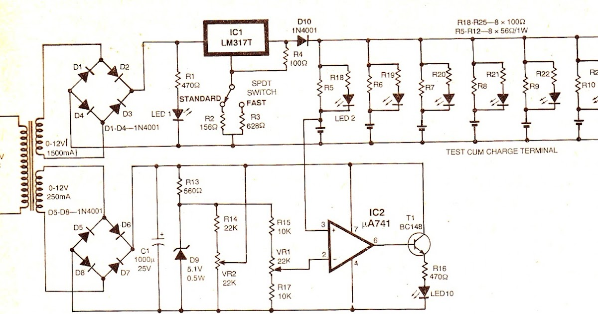 wiring schematic diagram simple ni cd battery charger circuit