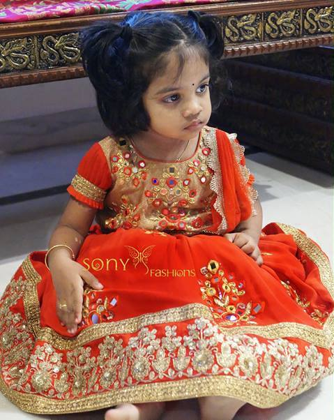 Baby in Orange Mirror Work lehenga