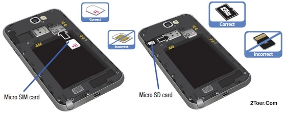 Figure 2. Insert micro SIM Card and microSD Memory Card on Galaxy Note