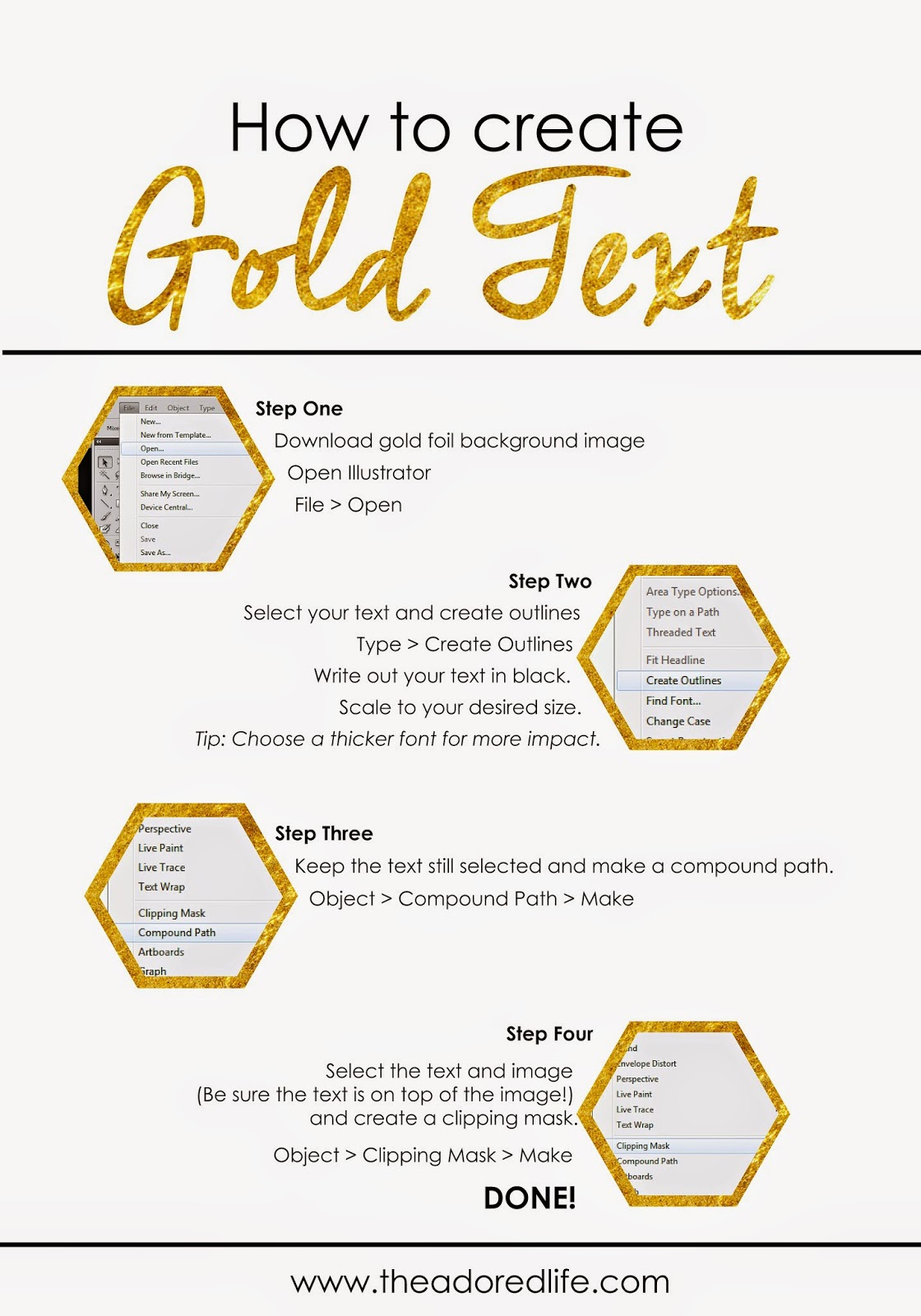 How To Create Gold Text // The Adored Life