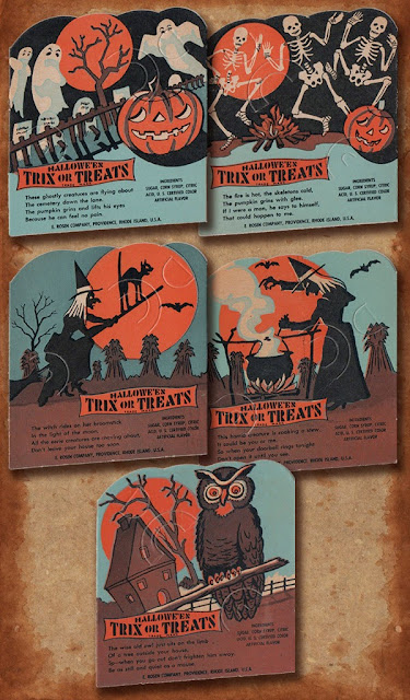 A five card candy-holder card set featuring ghosts and skeletons in graveyards, witches, and owl.