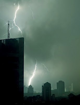 lightening storm in a city