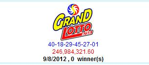 PCSO Lotto Results- September 8- Grand Lotto 6/55