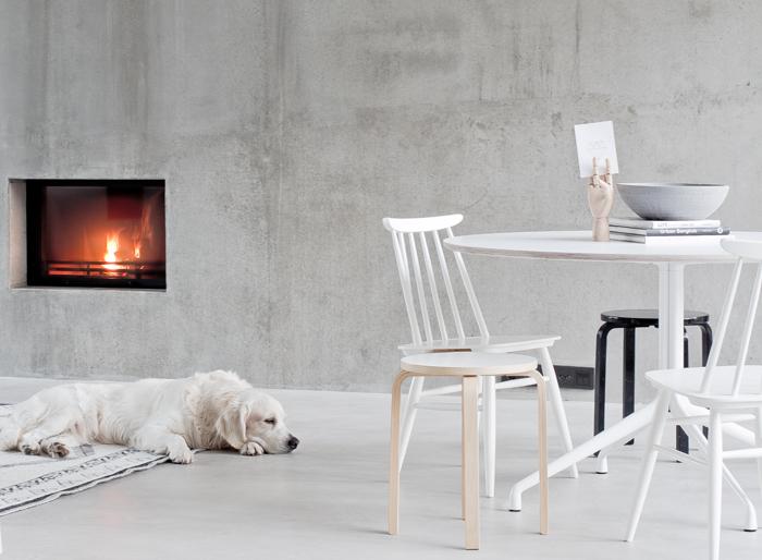 blanco, cemento, minimalista, diseño, nórdico, escandinavo, moderno, dekoloop, chimenea