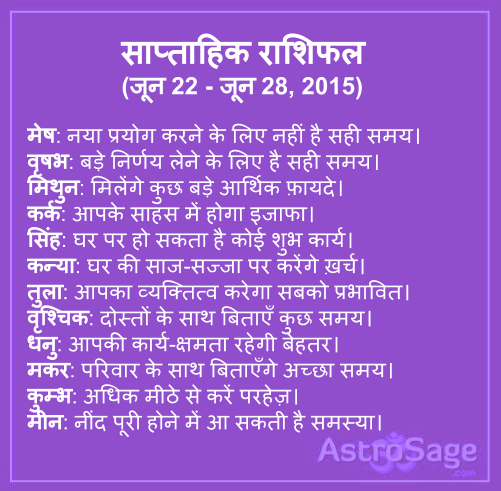 22 June se 28 June 2015 tak ane wale saptah me jaane apna bhavishya.
